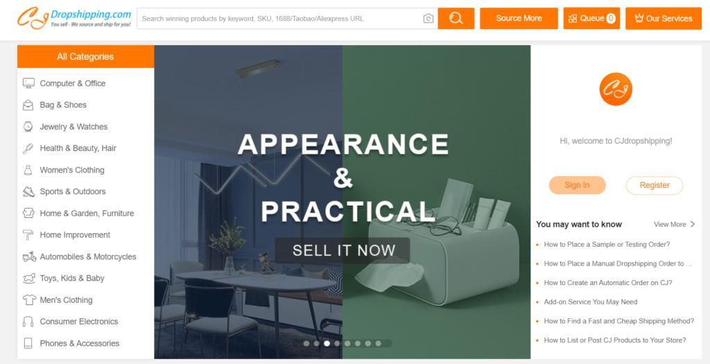 Homepage of CJdropshipping