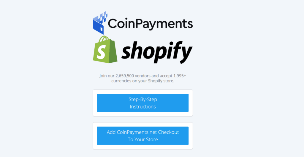 Add CoinPayments to your Shopify store