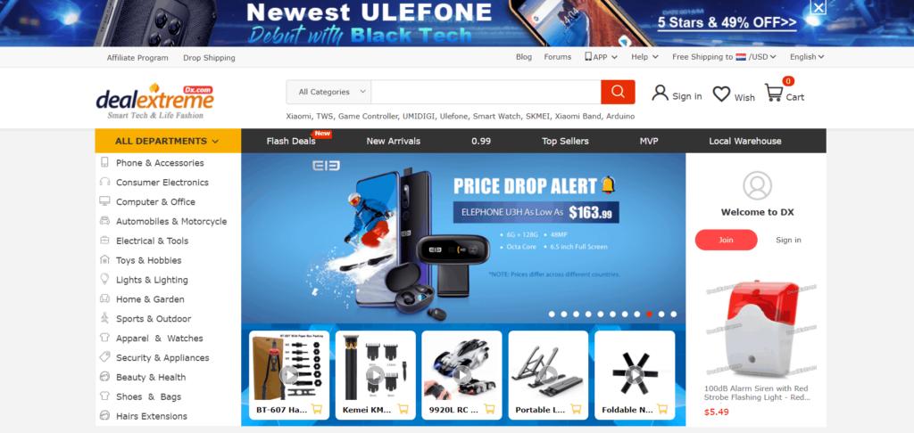 Homepage of DealXtream