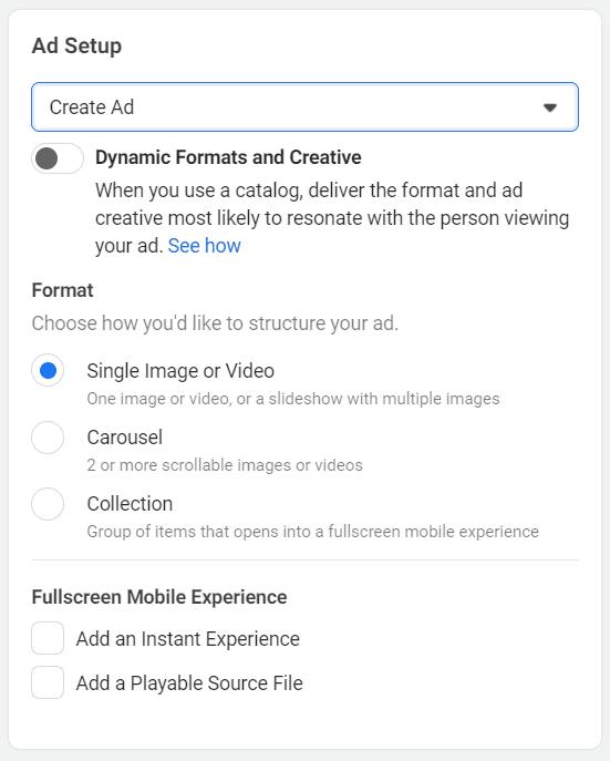 Facebook Ads ad setup