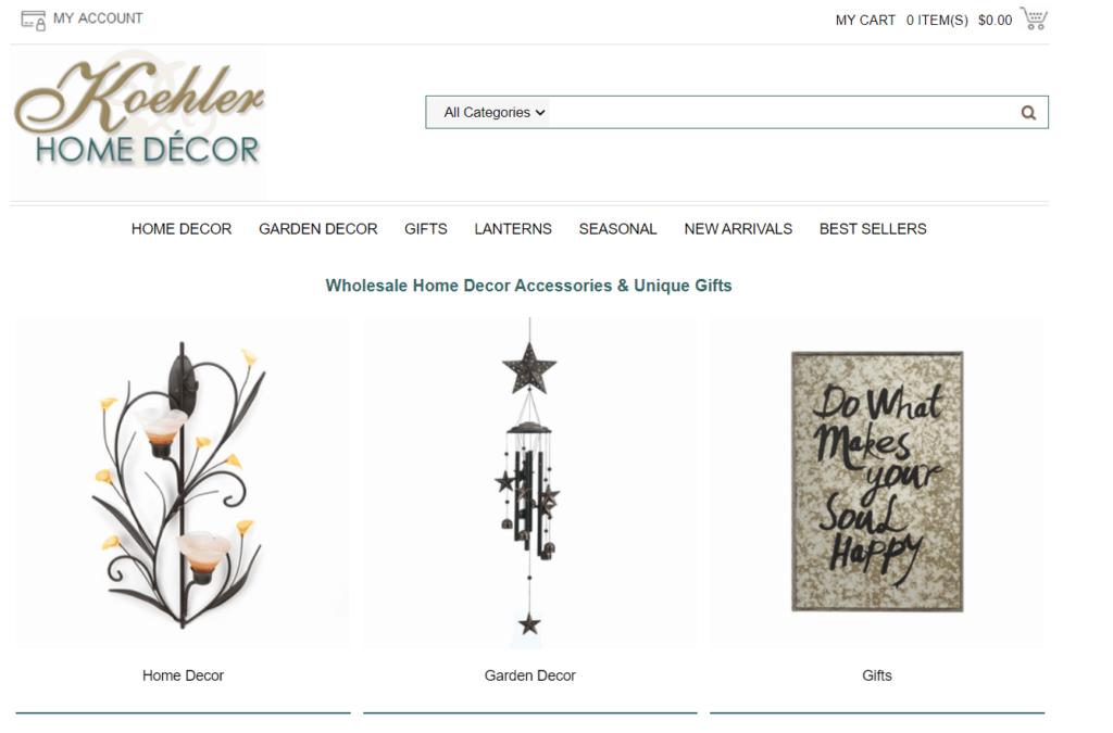 Koehler Home Decor best free US niche dropshipping suppliers