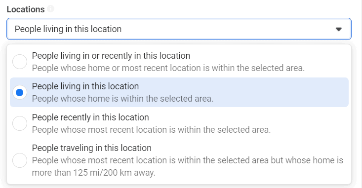 """Facebook Ads first tip for better results; use """"People living in this location"""""""