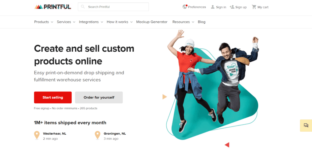 Supplier for dropshipping in Japan example  Printful