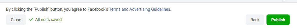 Facebook Ads guide final step, publishing the ad