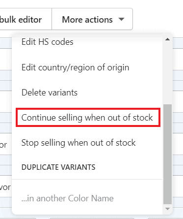 Continue selling when out of stock option Shopify