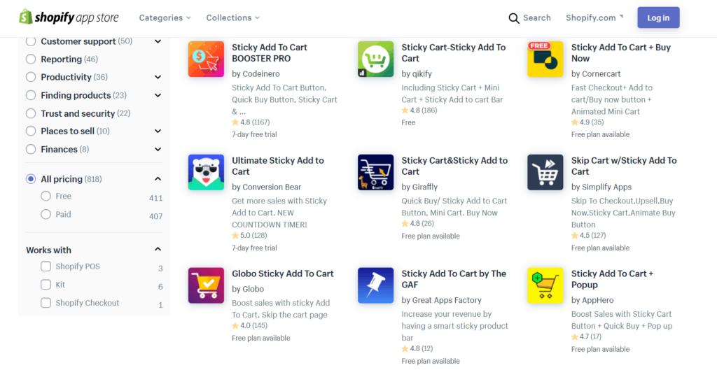 Shopify sticky add to cart apps
