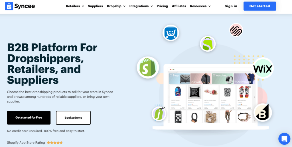 the homepage of Syncee