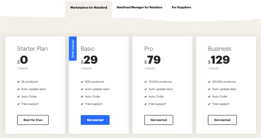 Syncee pricing page
