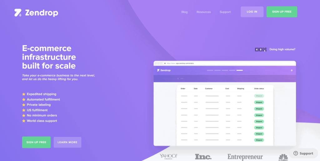 Homepage of Zendrop