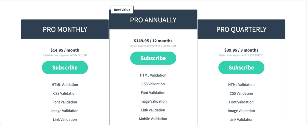 HTML checker pricing page