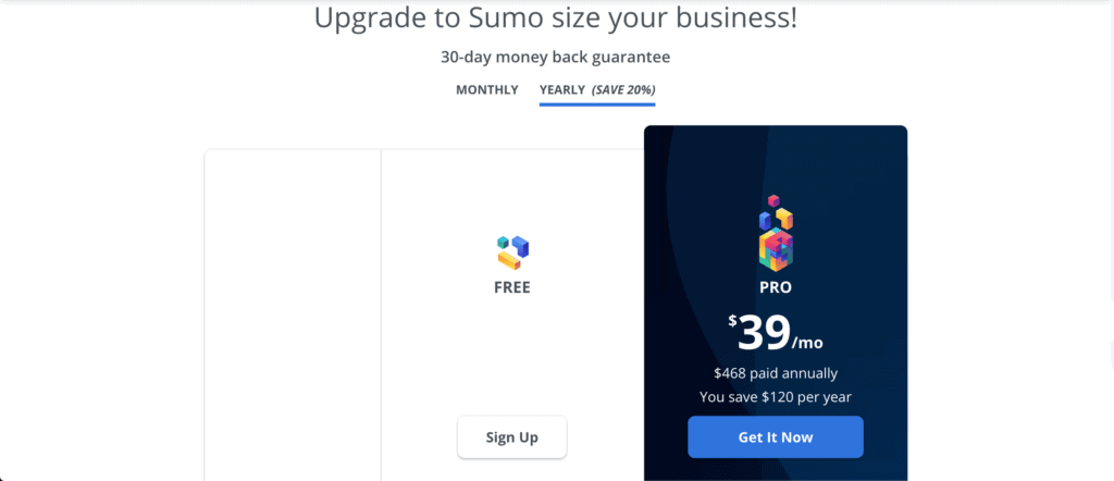 Sumo pricing page