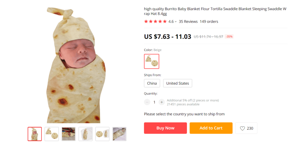 Burrito baby blanket safe dropshipping product example