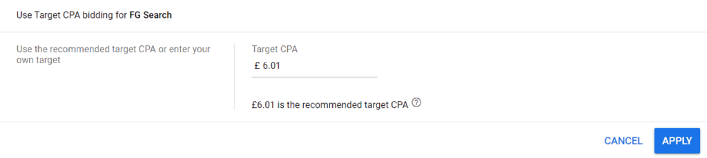 An example of Google's target CPA in the Google Ads platform