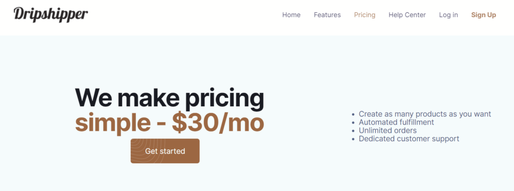 Dripshipper pricing