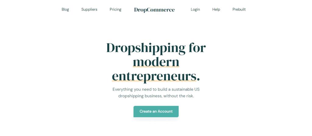 Homepage of DropCommerce