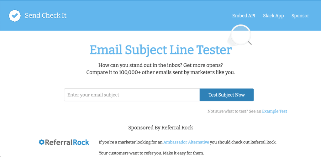 Email subject line checker homepage