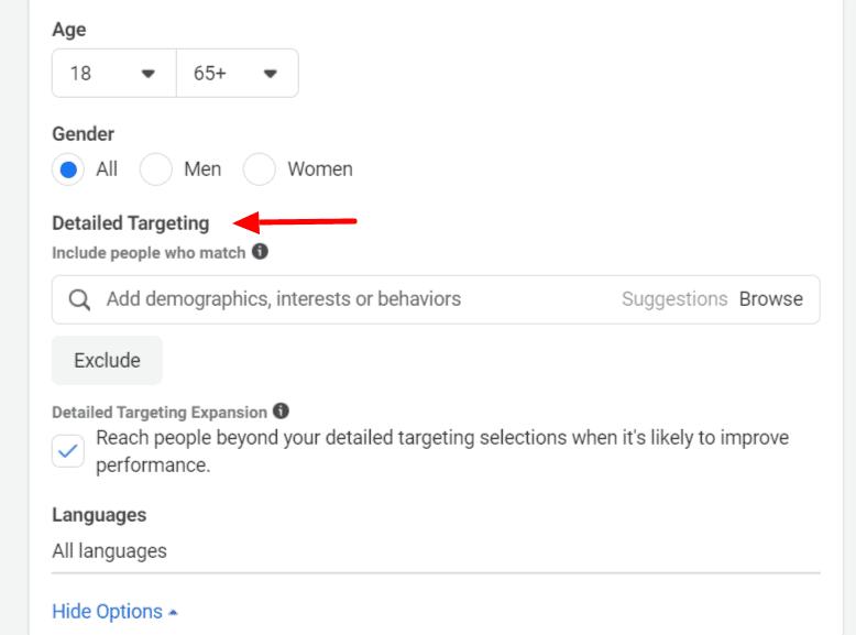 Facebook Ads interest targeting (detailed)
