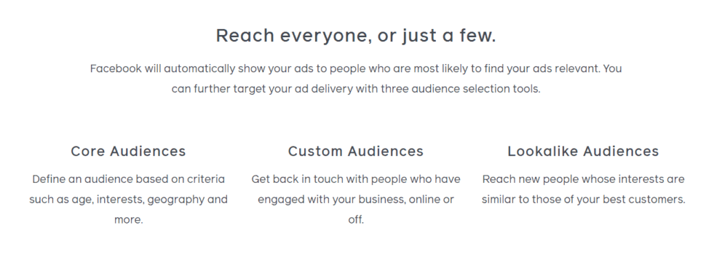 Different audience types on Facebook
