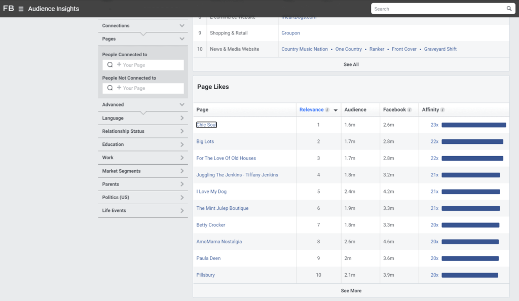 Facebook Audience Insights pages with highest affinity