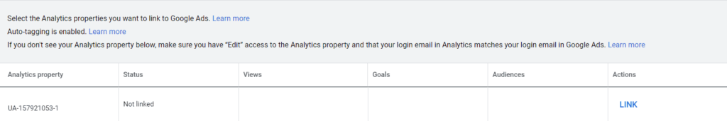 Linking google analytics on Google Ads platform