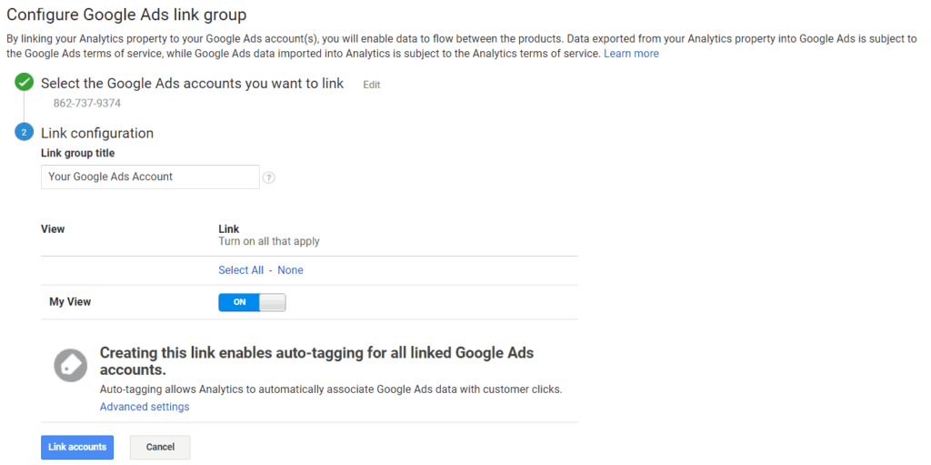 Google Analytics Link Google Ads