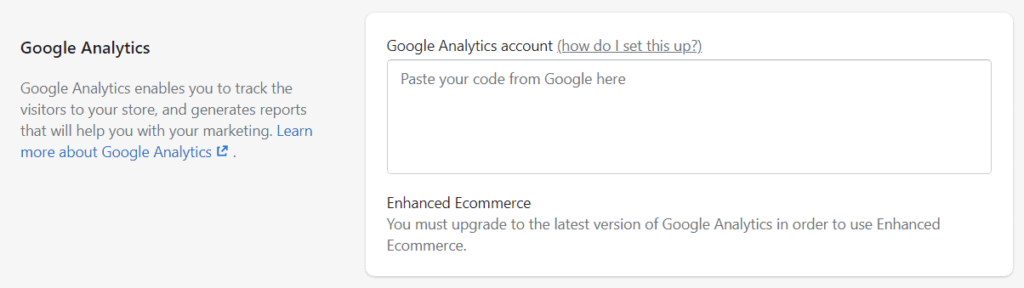 Google Analytics enabled on Shopify