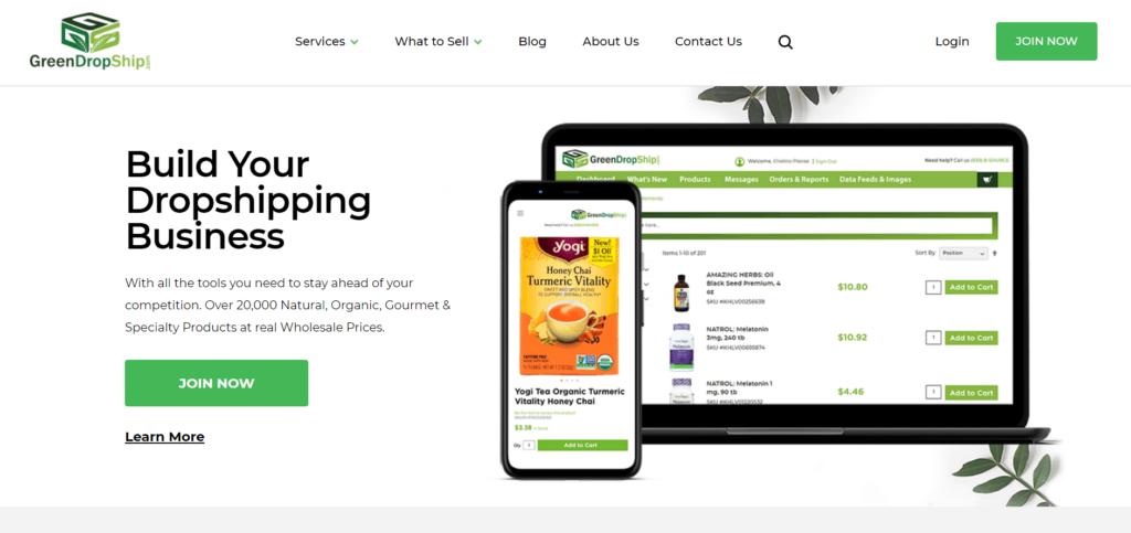 Homepage of GreenDropShip