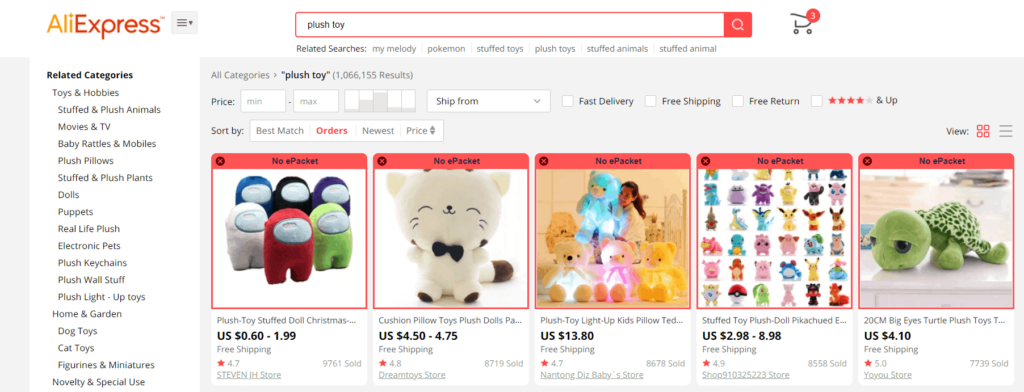 Plush toy search results AliExpress