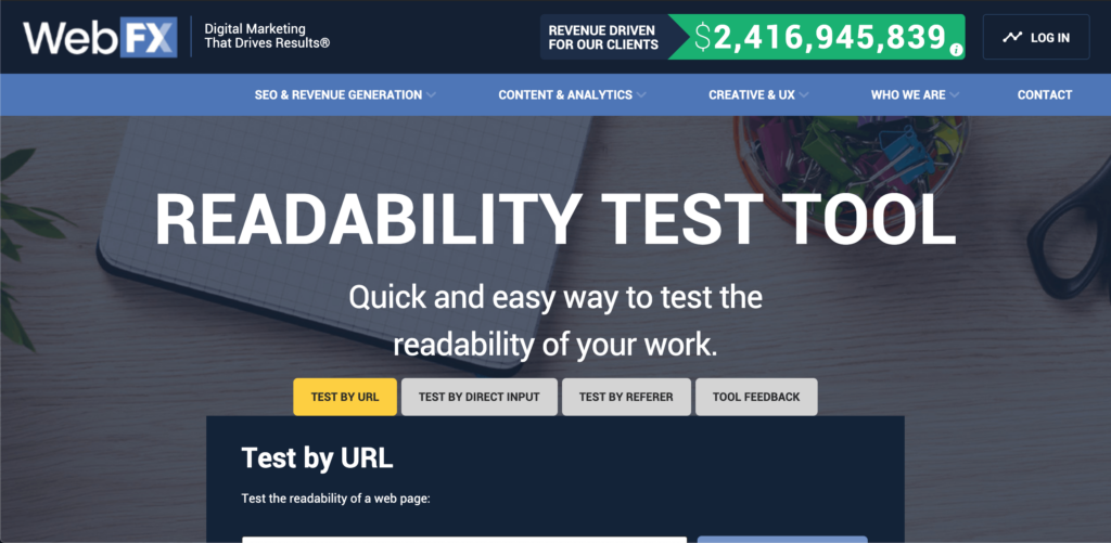 Readability test tool homepage