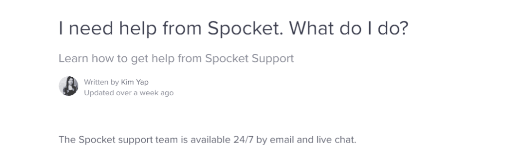 Spocket 24/7 customer support