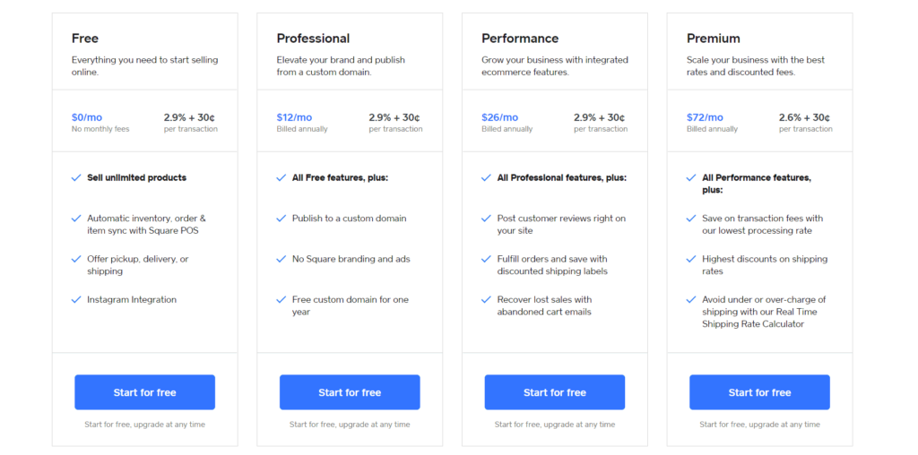 Square online pricing plans