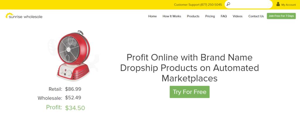 Homepage of Sunrise Wholesale homepage