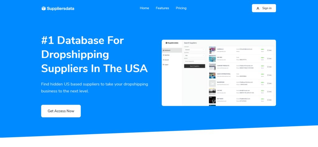 Homepage of Suppliersdata