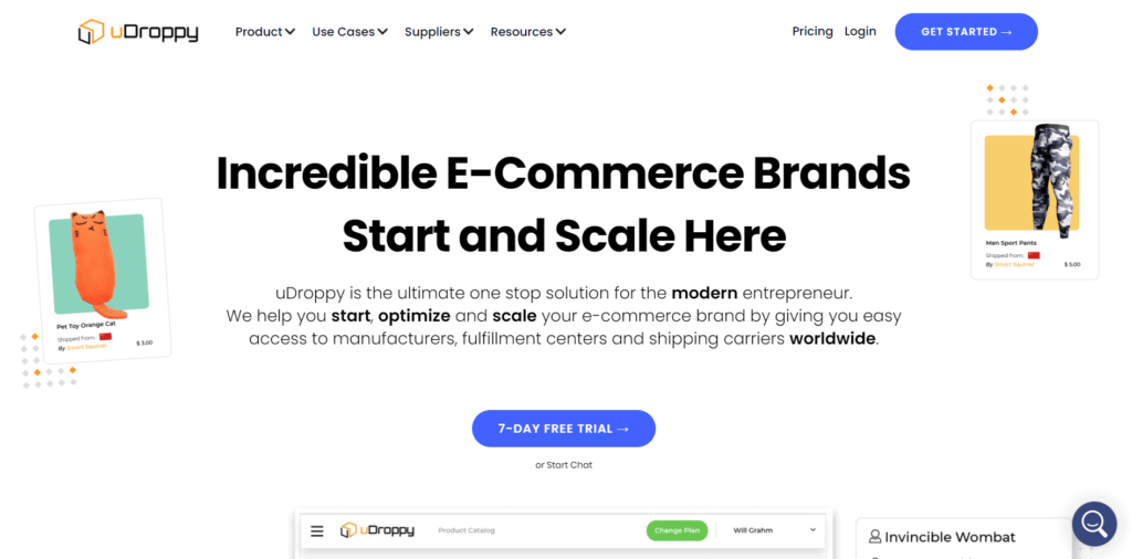 Best dropshipping suppliers uDroppy homepage