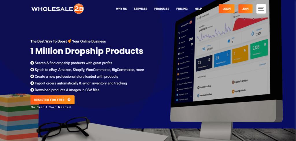 Homepage of Wholesale2b
