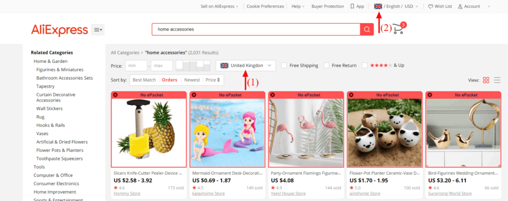 How to find UK suppliers on AliExpress