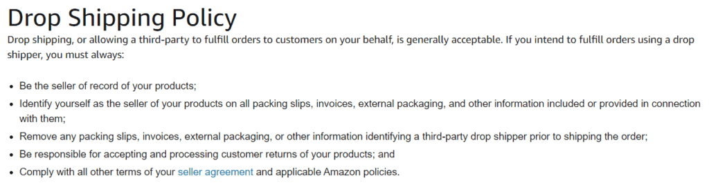 Amazon's dropshipping policy