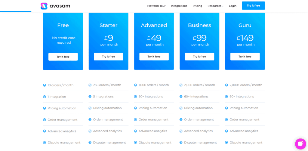 Avasam pricing page