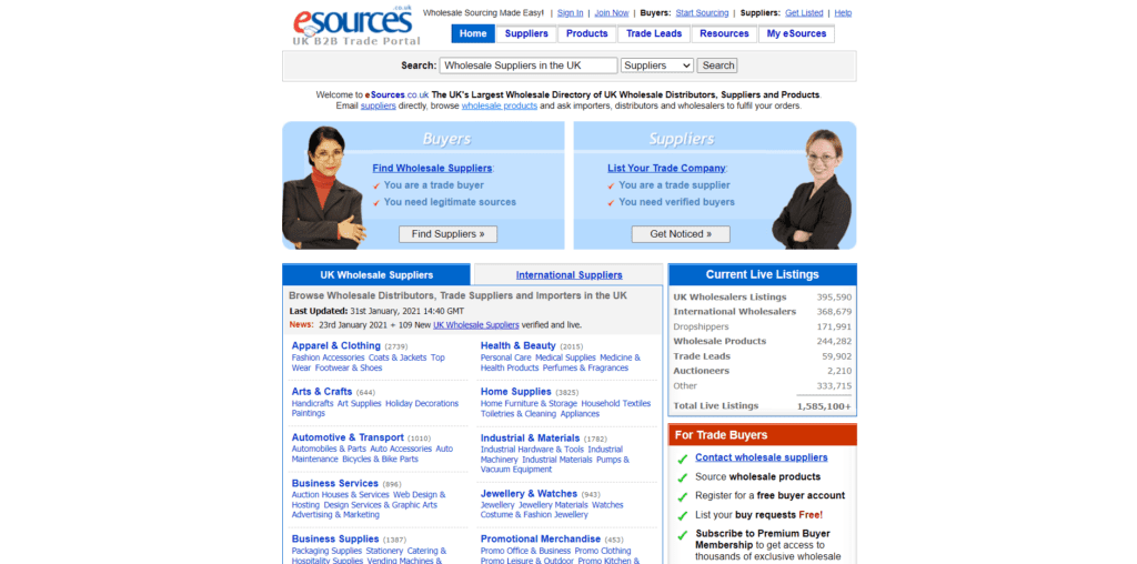 eSources homepage