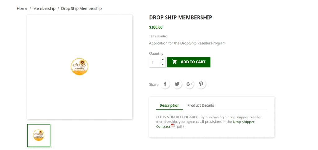 eSutras drop ship membership