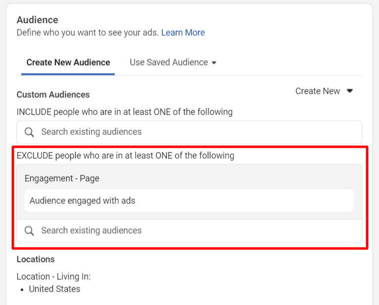 Use Facebook custom audience in targeting