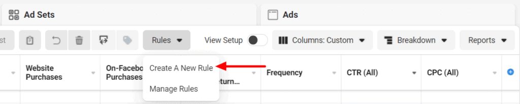 Create new rule Facebook Ads