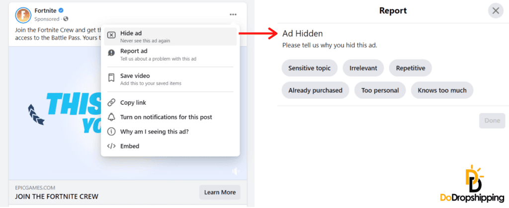 Facebook hide an ad