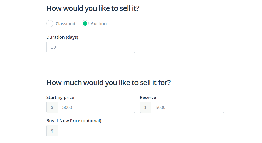 Flippa auction example