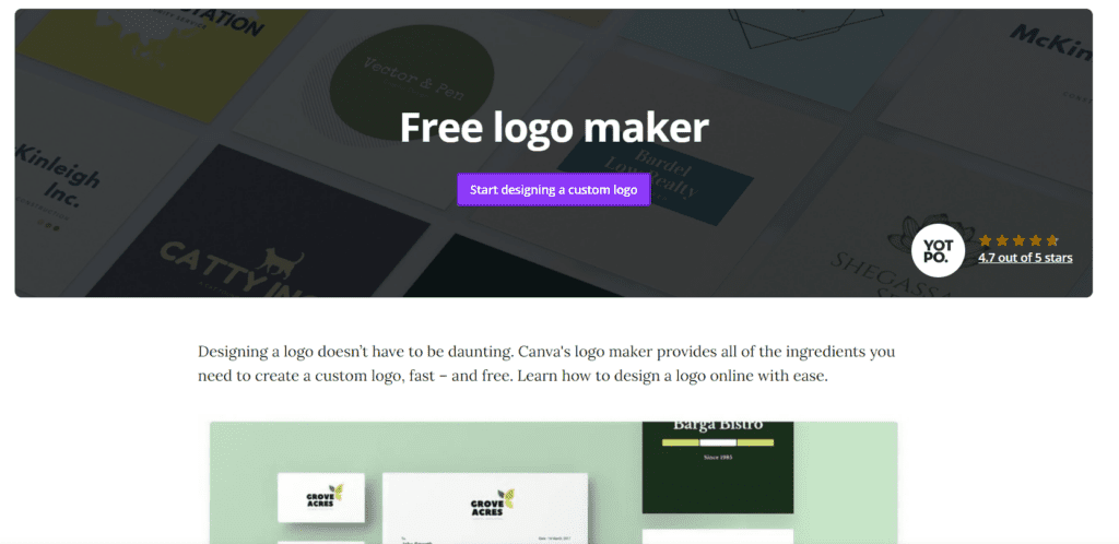 The logo maker landing page from Canva