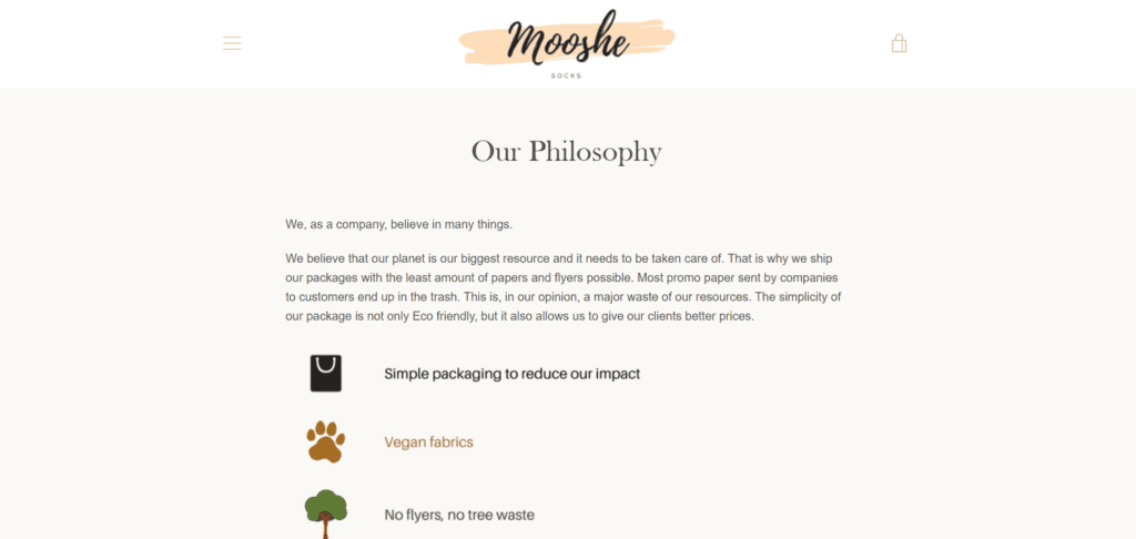 Mooshe about us page example