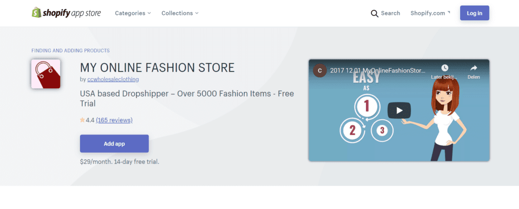 Shopify app My Online Fashion Store
