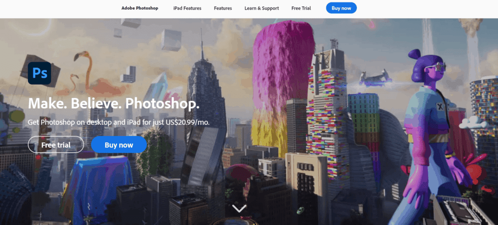 The homepage from Photoshop