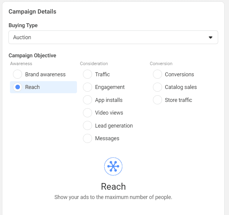 Facebook Ads Reach campaign objective