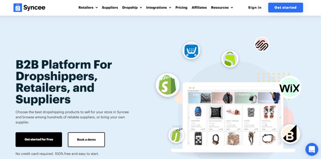Syncee homepage